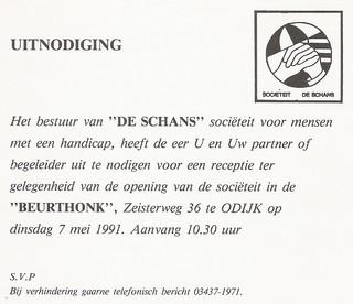 Uitnodiging voor opening Beurthonk 7 mei 1991