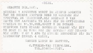 Uitnodiging voor de uitnodiging van de opening op 1 augustus 1995